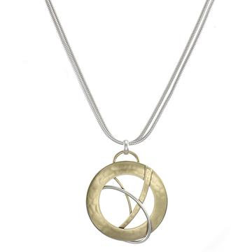 Necklace: Brass Disk, Silver Ring, SS Rope Chain               1JE328
