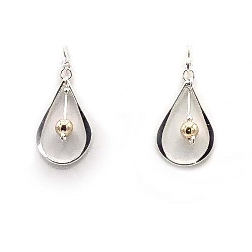 Earrings: Sterling Silver w Gold Bead Dangle-JR160