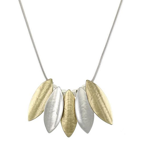 Necklace: Brass & Silver Leaves, SS Rope Chain    1JE317