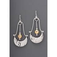 Earring - Sterling Silver Crescent w Gold Filled Bead, JI159