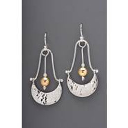 Earring - Sterling Silver Crescent w Gold Filled Bead, JI159