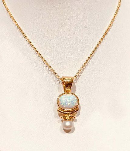 Necklace: Vermeil with White Opal, White pearl  JF354
