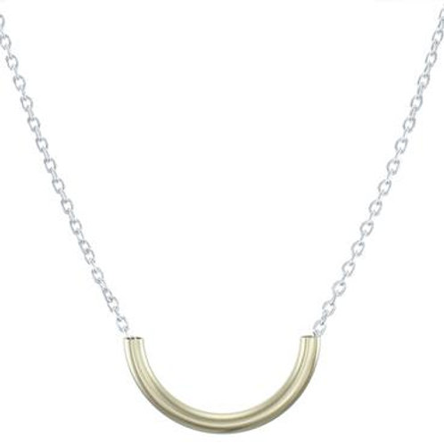 Necklace: Brass Curved Tube, SS Chain    1JE185