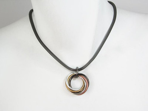 Necklace: Black Nickel with Mixed Metal Pendant  JZ559