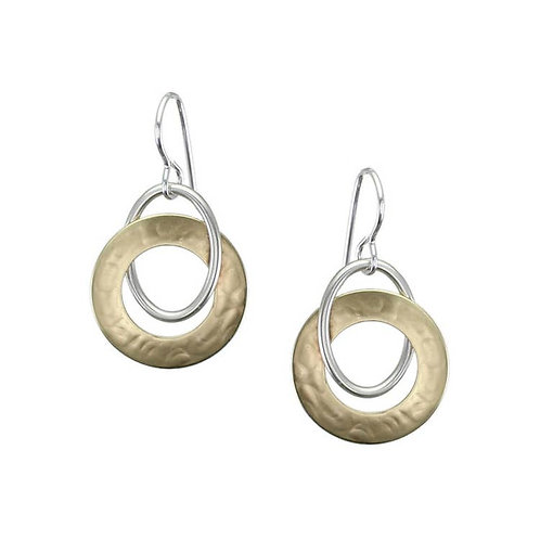 Earrings: Brass and Silver Hoops  1JE329