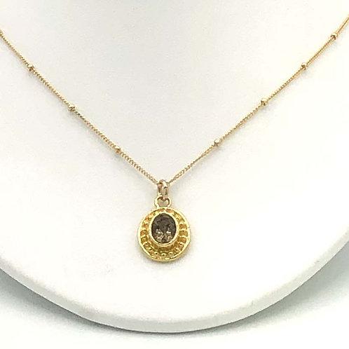 Necklace: Oval vermeil w smokey quartz JF301