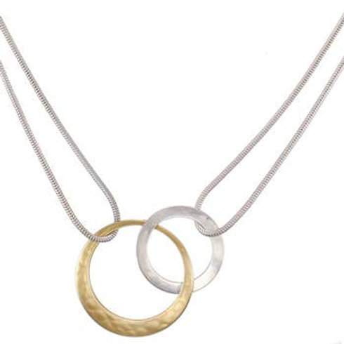 Necklace: Hammered Brass and Silver Rings, Interconnected, on Silver Rope Chain
