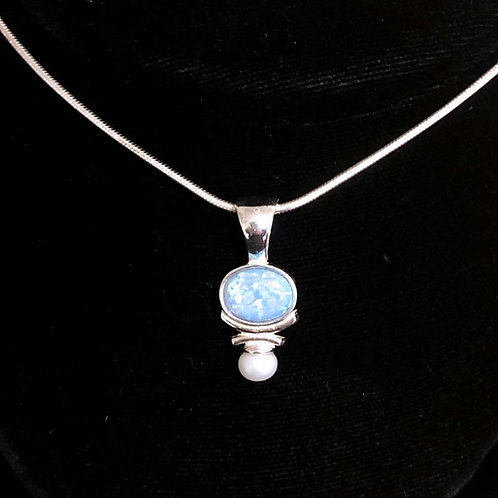 Necklace: Sterling Silver, blue opal w pearl, snake chain JF370, 371