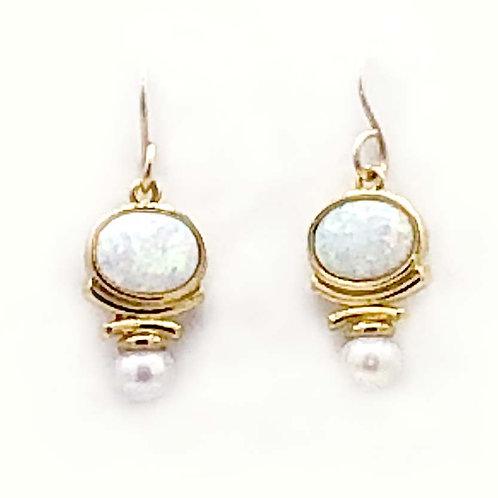 Earrings: Vermeil, White Opal w white Pearl JF325