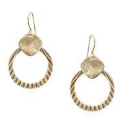 Earrings: Brass textured ring, dangles 1JE392