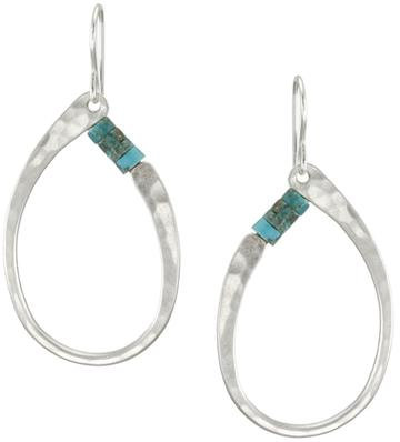 Earrings: Silver w turquoise beads  1JE352