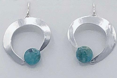 Earrings: Silver Hammered Hoop w Turquoise                  1JE309