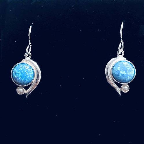Earring: Round swoosh, sterling silver, Lt. blue opal JF359, JF360