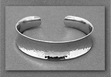 Bracelet - Wide, Hammered, Sterling Silver, Cuff