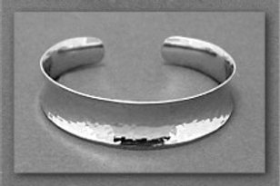 Bracelet - Wide, Hammered, Sterling Silver, Cuff