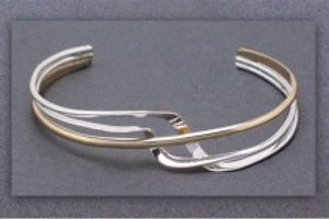 Bracelet - Sterling/Gold Fill Mix, Cuff             JR491