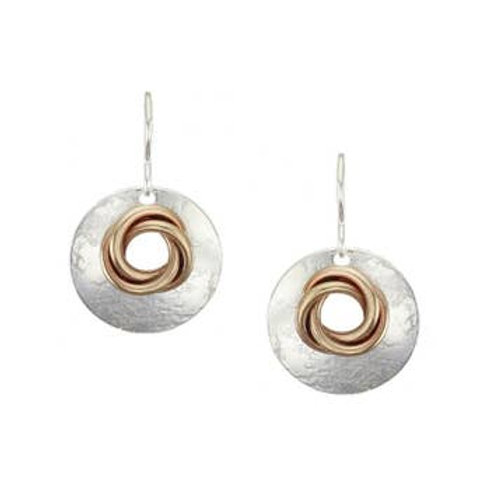 Earring -  Silver Disk With Brass Knot