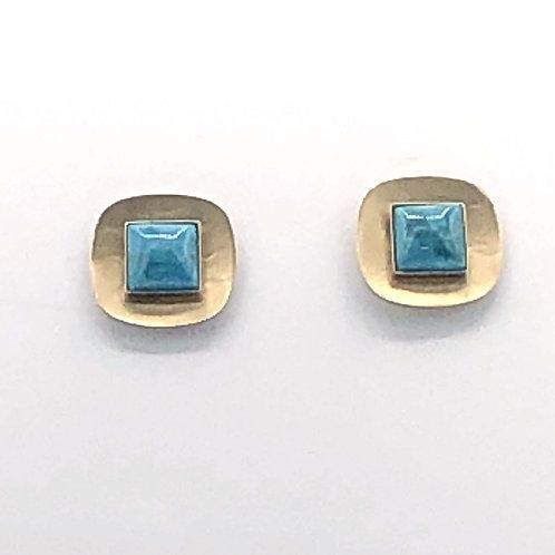 Earrings: Brass w Turquoise, Post        1JE271