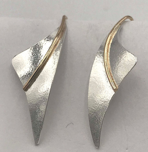 Earrings: Matte Sterling Silver w Gold Filled Wire 2JA84