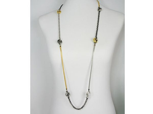 Necklace: long mesh strand, chain, mesh beads  JZ577