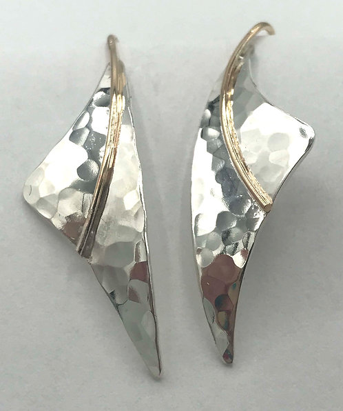 Earrings: Hammered Sterling Silver w Gold Filled Wire 2JA85