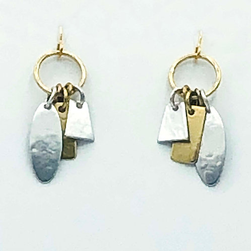Earrings: Brass and Silver Charms, Dangle                  1JE113