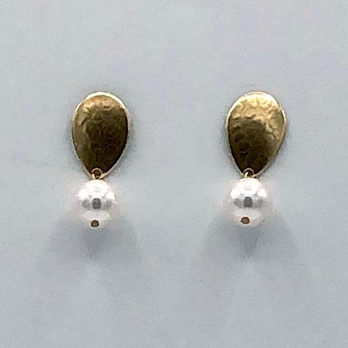 Earrings: Brass w Large White Pearl, Post             1JE315