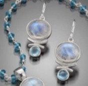 Earrings: Rainbow Moonstone, Sterling w Blue Topaz JF347