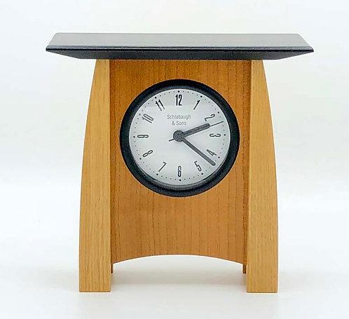 Shelf Clock: Veneer, cherry/maple,  7w x 6.75H x 3D, WZ229