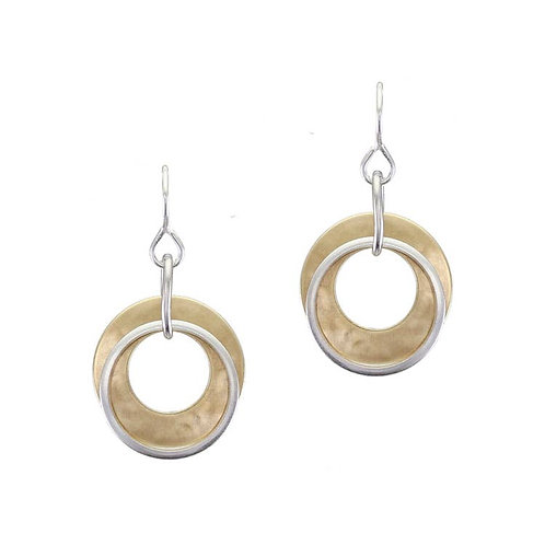 Earring - Small Brass Ring With Thin Silver Ring