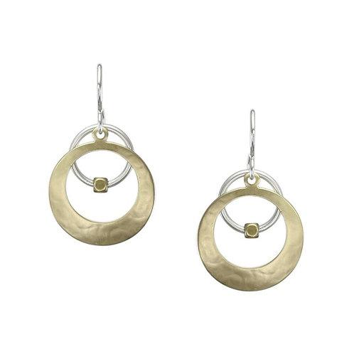 Earring: Brass Disc, SS Ring w Brass Bead                     1JE336