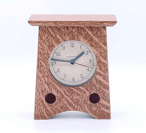 "Mantel Clock: Nut Brown Oak, 6""h x 5""w x 2.25""d  WZ216"