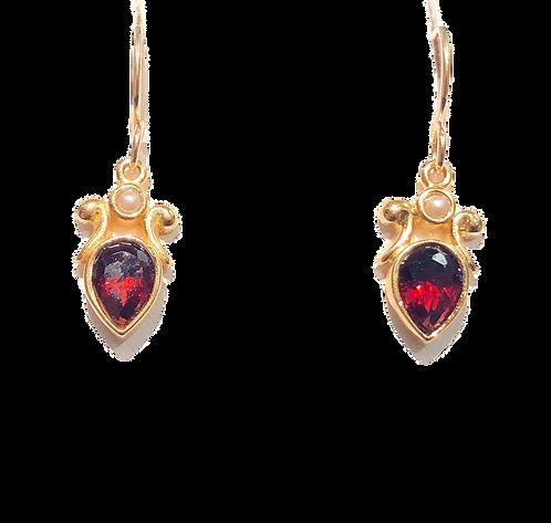 Earrings: Fleur Pear, garnett, vermillion JF344