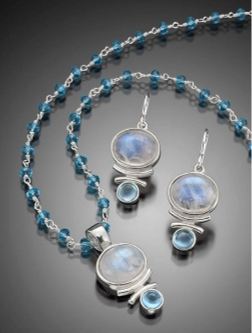 Necklace: Rainbow Moonstone, Sterling w Blue Topaz
