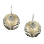 Earrings: Brass, Silver, textured discs  1JE389