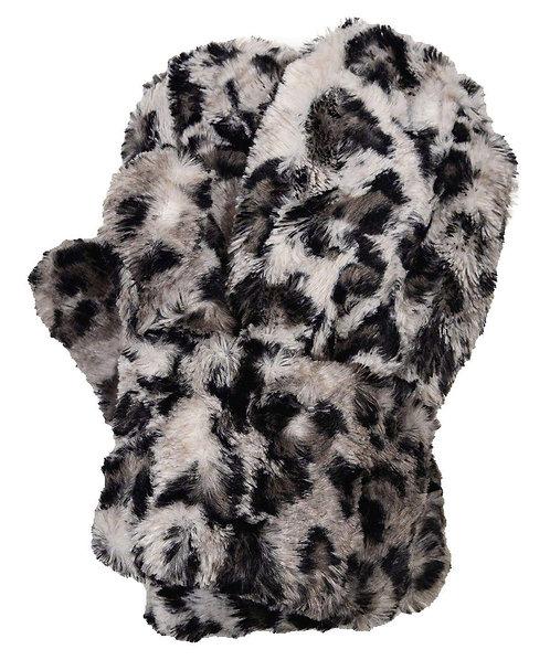 "Pandemonium Faux Fur Reversible Mittens: ""Savannah Cat In Gray w/ Black"" MC800"