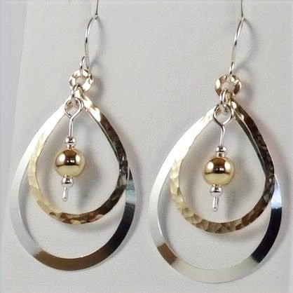 Earrings: Gold Filled & Sterling Silver w Gold Bead 2JA61
