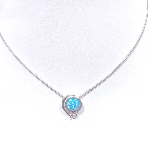 Necklace: Round Pendant, Sterling Silver, Lt. Bl. Opal JF369