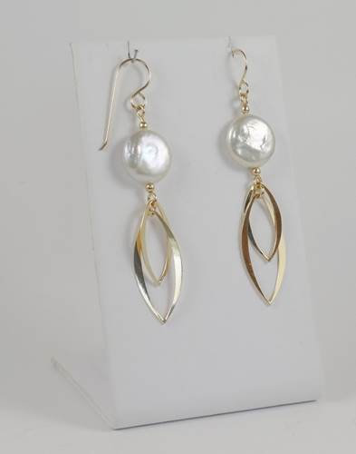 Earrings: Gold-filled with coin pearl 2JA-31, 32