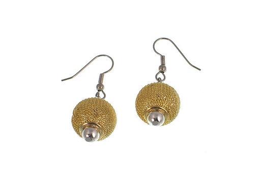 Earrings: Gold Mesh w Rhodium Bead JZ548