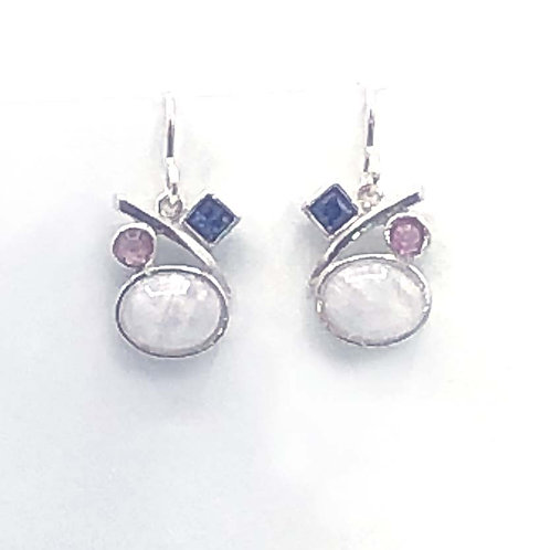 Earrings:  Rainbow Moonstone, Sterling silver JF338