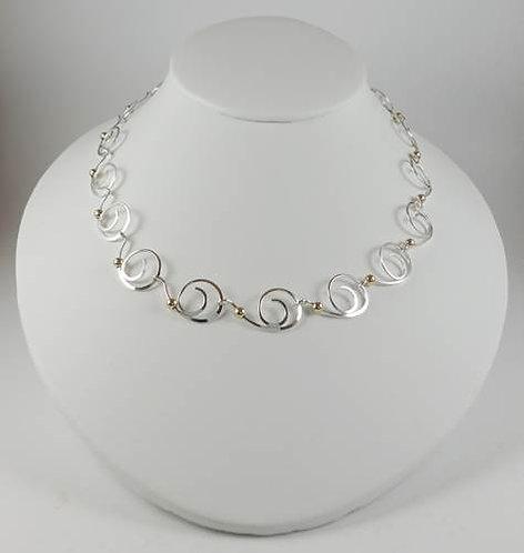 Necklace: Sterling silver scroll w bead  2JA67