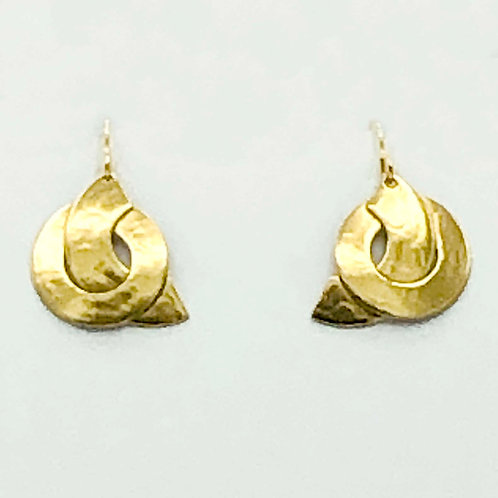 Earrings: Hammered Brass Layered Shapes, Dangle       1JE296