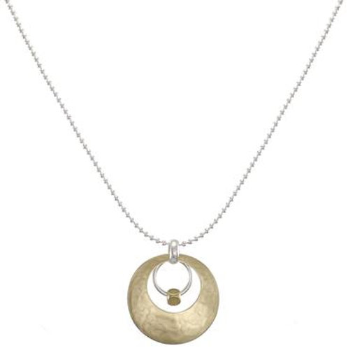 Necklace: Brass Disc w SS Ring, Brass Bead, SS Chain       1JE276