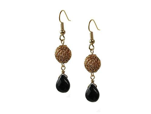Earrings: Gold Plate, Onyx JZ555