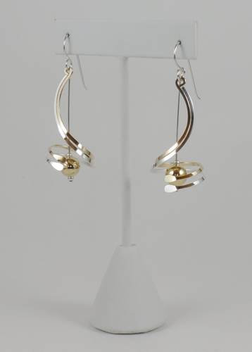 Earrings: Gold-filled/Silver mix w GF Bead   2JA38, 39