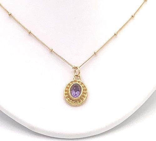 "Necklace: Vermeil w Amethyst, 18"" chain  JF269"