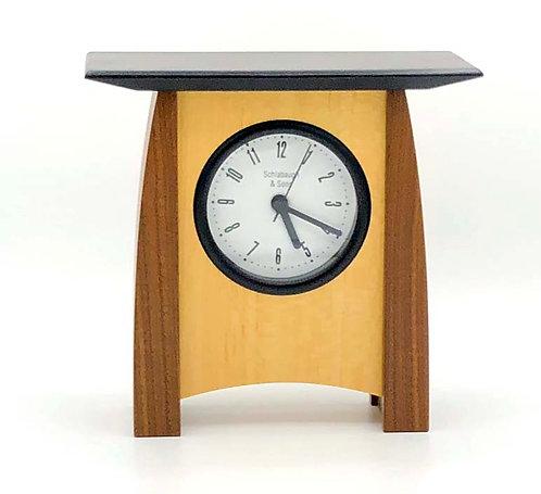 Shelf Clock: Veneer, walnut/maple, 7w x 6.75h x 3d, WZ230