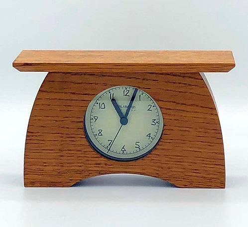 "Mantel Clock: Oak, 7.5"" x 4.5""w x 2.25""D  WZ222"