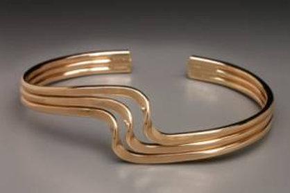 Bracelet - Triple Wave, G. Filled Cuff      JI147